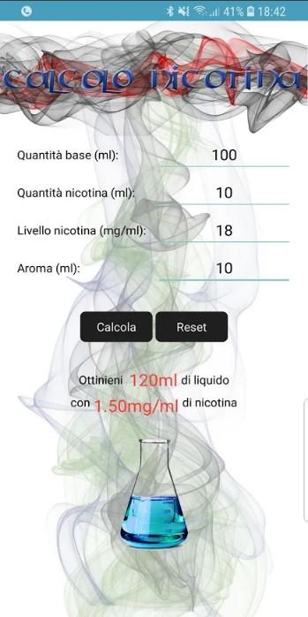 APP Calcolo Nicotina Svapo